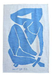 Henri Matisse - Blue Nude 3 - Inspired Silk Hand Woven Area Rug Wall Rug 5 X 7andprime