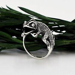 New Sterling Silver 925 Perched Chameleon Lizard Reptile Animal Ring