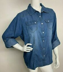 New Look Women Plus 2X Cotton Denim Blouse Shirt Button Front Roll up Sleeve NWT