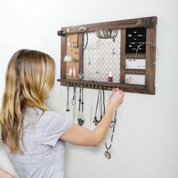 Hanging Rustic Wood Jewelry Organizer Necklace Holder Storage Rack Wall Mounted