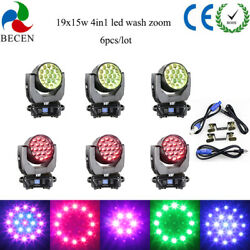 Aura19x15w Rgbw 4in1 Led Wash Zoom Moving Head Light Dj Stage Lights 6pcs In Us