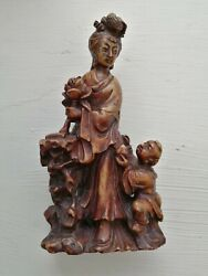 Statue Chinoise Pierre Signandeacutee Antique Chinese Stone Signed