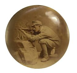 Vintage Wwi Sharpshooter Soldier Sepia Photo Celluloid Button Photo