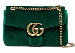 Gucci Marmont 2.0 Medium Green Velvet Matelasse Gold Logo Shoulder Crossbody Bag