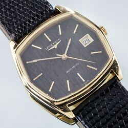 18k Yellow Gold Longines Menand039s Automatic Watch W/ Wood Dial And Leather Band