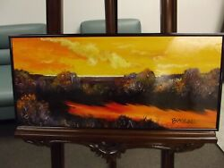 Signed Acrylic Canvas Board Landscape Painting Americana Art/artist Browne
