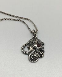 Art Nouveau Sterling Silver Lady Head Pendant On Chain With Red Gemstone