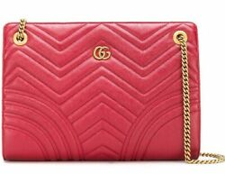 Gucci GG Marmont Matelasse Medium Red Leather Gold Logo Chain Shoulder Tote Bag $1,687.50