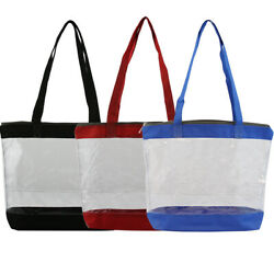 Clear Shoulder Zipper Beach Tote Bag Transparent for Sporting Events $8.99