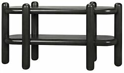 64 L Oblong Console Table Solid Mahogany Wood Modern Black Finish