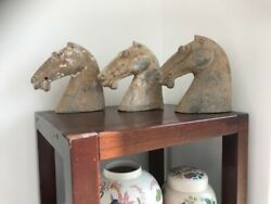 3 Chinese Han Dynasty 206bc - 220ad Clay Pottery Horse Heads
