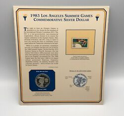 Us 1983 Commemorative Silver Dollar Los Angeles 1984 Olympic Coin Medal W/ Stamp