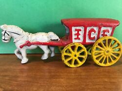 Ra Vintage Cast-iron Metal Toy, White Horse Pulling Red Ice Covered Wagon