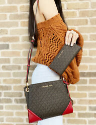 Michael Kors Nicole Large Triple Compartment Crossbody Brown Red Wallet $184.70