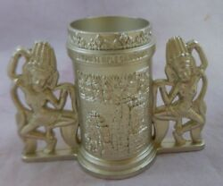Candle Holder White Metal 2 Dancing Women Holders W/ Embossed Pattern Cambodia