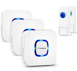 Coolqiya Wireless Doorbell With 2 Remote Button And 3 Plugin Receiver, No