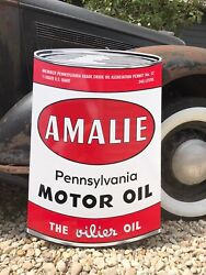 Antique Vintage Old Style Amalie Gas Oil Can Sign