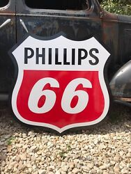 """Antique Vintage Old Style Phillips 66 Shield Gas Oil Sign 40"""""""