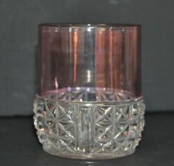 Vintage Pressed Glass Old Fashion Glass Clear to Cranberry Starburst Bottom $3.00