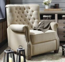 Beige Tufted Push Back Recliner Armchair Recliners Nailhead Arm Chair Chairs New
