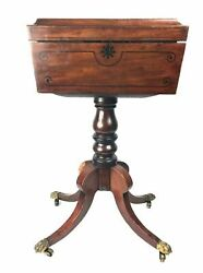Antique Regency Period English Mahogany Teapoy 19th Century Stand And Slots Rare