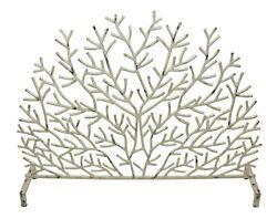 Fireplace Screens - Rainbow Reef Coral Design Fire Screen - Antique Ivory