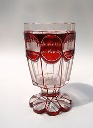 Antique Bohmian/german Crystal Glass Goblet Cup With Etched Panels And Inscription