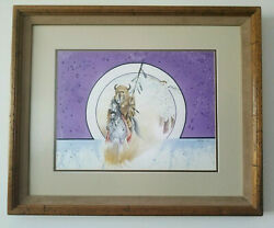 Signed Original Watercolor By Chebon Dacon C.1988 Out Of The Past Influenced