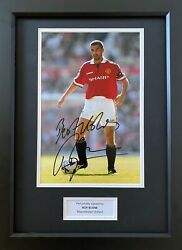 Roy Keane Hand Signed Manchester United 12x8 Photo In A3 Wooden Frame