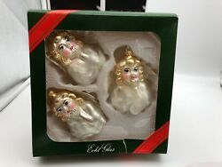 Cancer Lauscha Glass 3 Piece Christmas Tree Decoration Ornament 3 1/2in