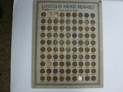 1909-1938 Lincoln Cents - Vintage Lincoln Head Pennies Coin Board 90 Coins
