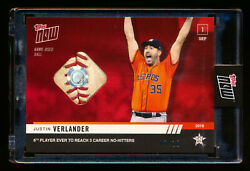 2019 Topps Now 778 Justin Verlander 3rd No-hitter Game-used Ball Rare Ssp 7/10