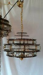 Vtg MCM Retro Smoked Lucite w Glass Hanging Swag Light Fixture