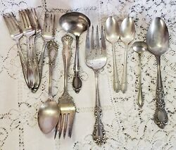 Vintage Silver Plate Mixed Serving Pieces Flatware Reed Barton Wm Rogers Bros 12