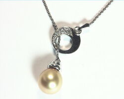 Golden Pearl Pendent With Genuine Diamonds 18 Kt White Gold Nfg970