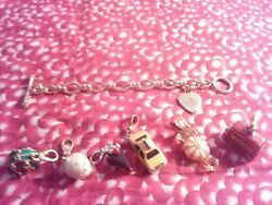 Authentic Juicy Couture Charm Bracelet Gold Tone With 6 Charms Minty