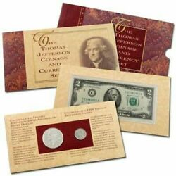 1993 Thomas Jefferson Coin And Currency Set Silver Dollar And 2 Bill And Matte Nickel