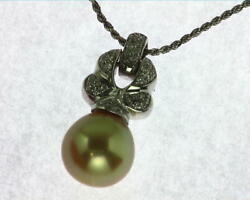 Golden Pearl Pendent With Genuine Diamonds 18 Kt White Gold Nfg968