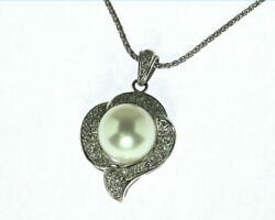 Pearl Pendent With Genuine Diamonds 18 Ct White Gold Nfg967