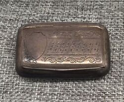 Antique 800 Silver Snuff Box Ornate Early Decoration Shield P Makers Mark Old