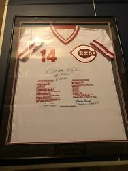Incredibly Rare 109/114 Pete Rose Embroidered Autographed Stats Jersey Coa