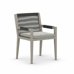 23 W Set Of 2 Outdoor Modern Dining Chair 100 Olefin Seat Rope Back Teak Frame