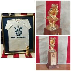 Vintage 1950s Vfw Marble Tournament Champ Trophy W/ Event T-shirt Framed Marbles