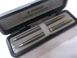 Parker 75 Classic Sterling Silver Ballpoint Pen And .5 Pencil Set New In Box Usa
