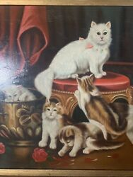 Vintage Oil On Canvas Cats Kittens Framed Signed Painting