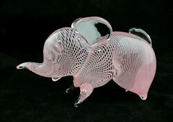 Murano Mouth-blown Glass Pink Elephant Figurine With White Swirl - Free Delivery