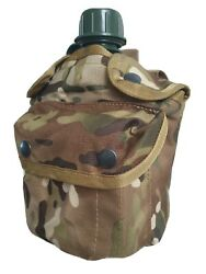 Tactical Force 1l Canteen / Bottle + Multicam Molle Pouch Bpa Free O-ring Combo