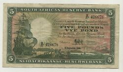 South Africa 5 Rand 10-9-1946 Pick 86.c Vf+ Circulated Banknote