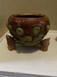 Vintage Native American Indian Navajo Pottery Pot With Collecting Rocks