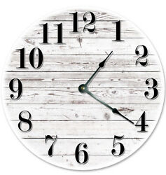 12quot; WHITE WOOD BOARDS CLOCK NEW Modern Numerals Large Wall Clock USA Made 2021B